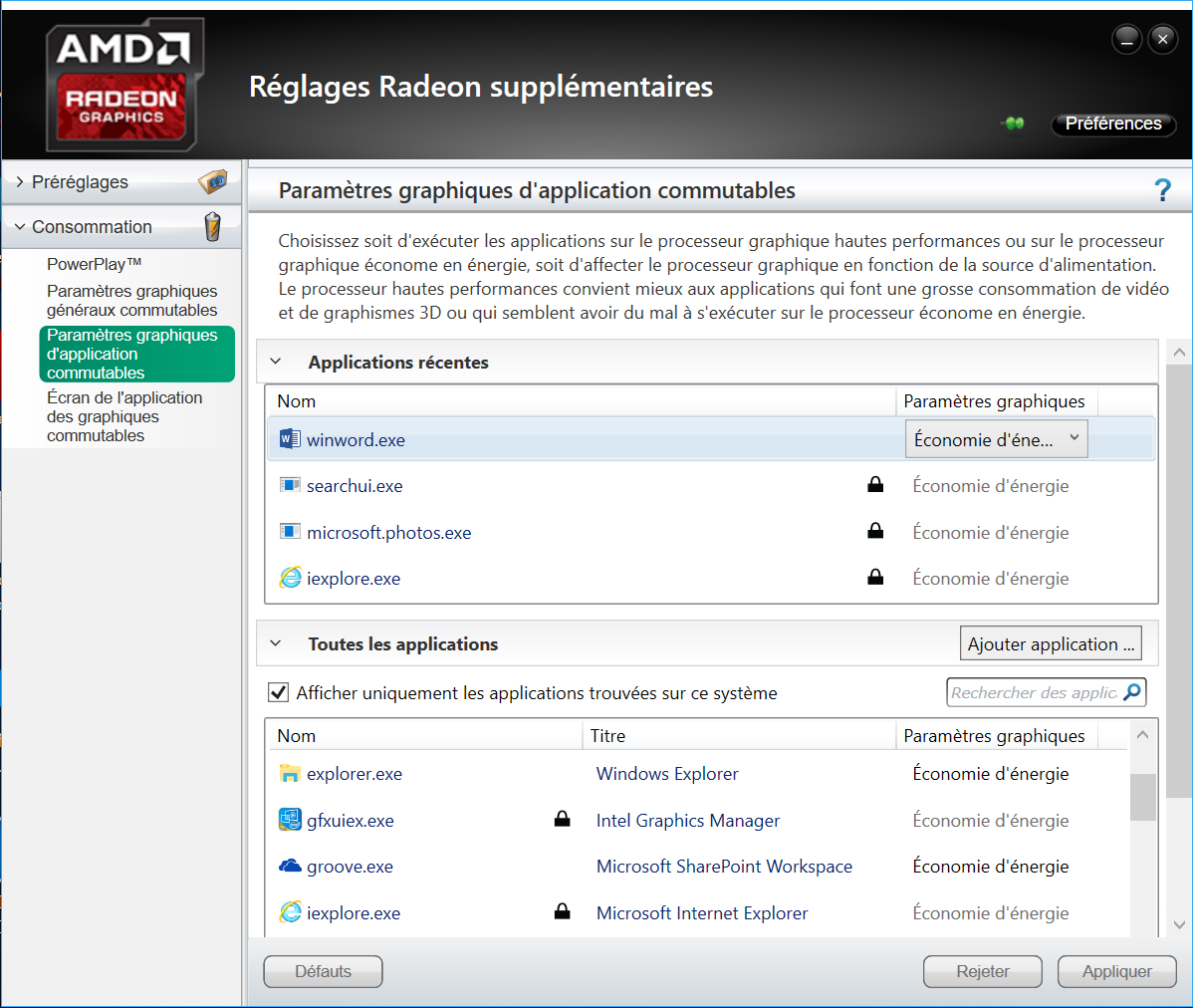 RADEON graphics settings