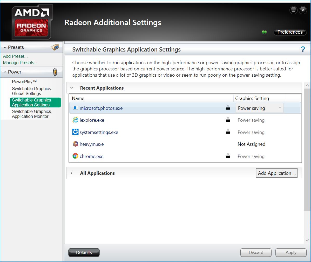 RADEON graphics settings
